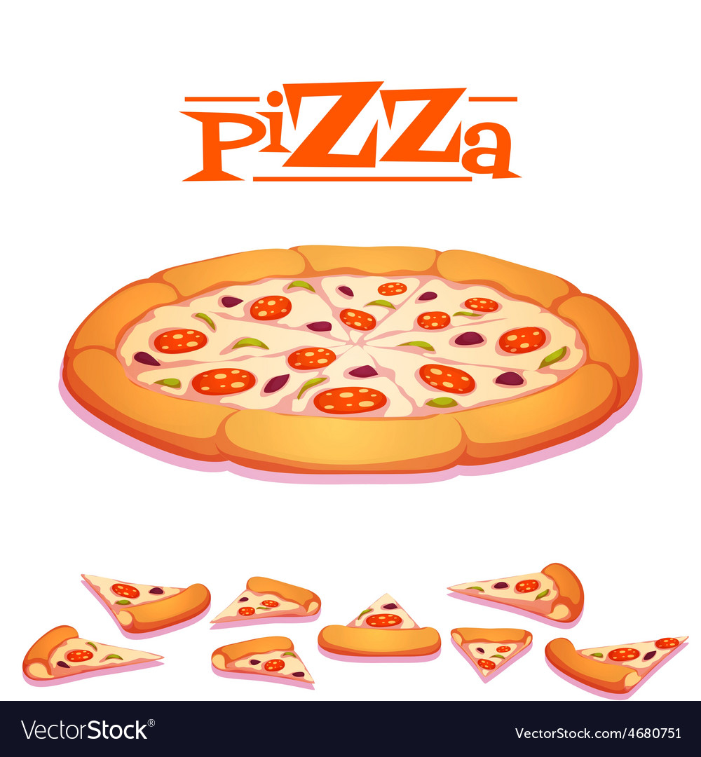 Hot pizza on white vector | Price: 5 Credit (USD $5)