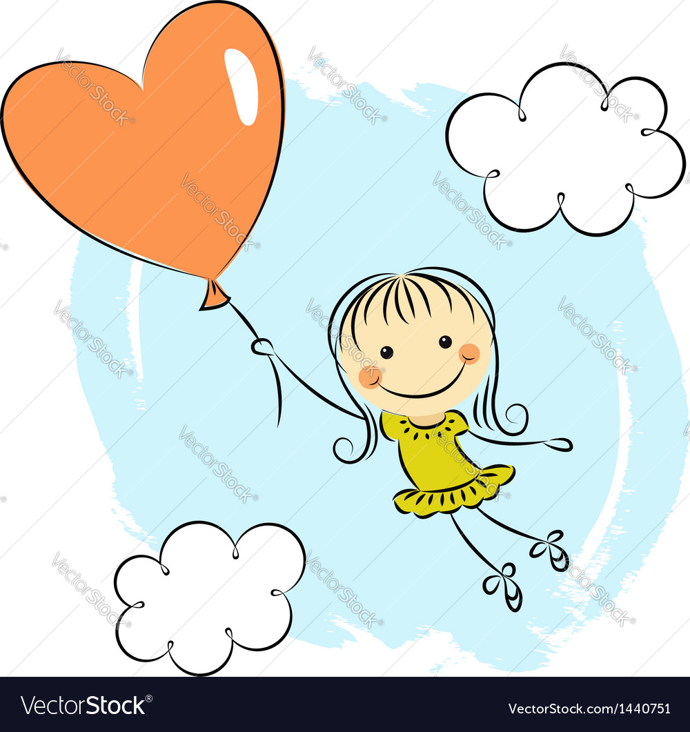 Little girl with heart balloon vector | Price:  Credit (USD $)