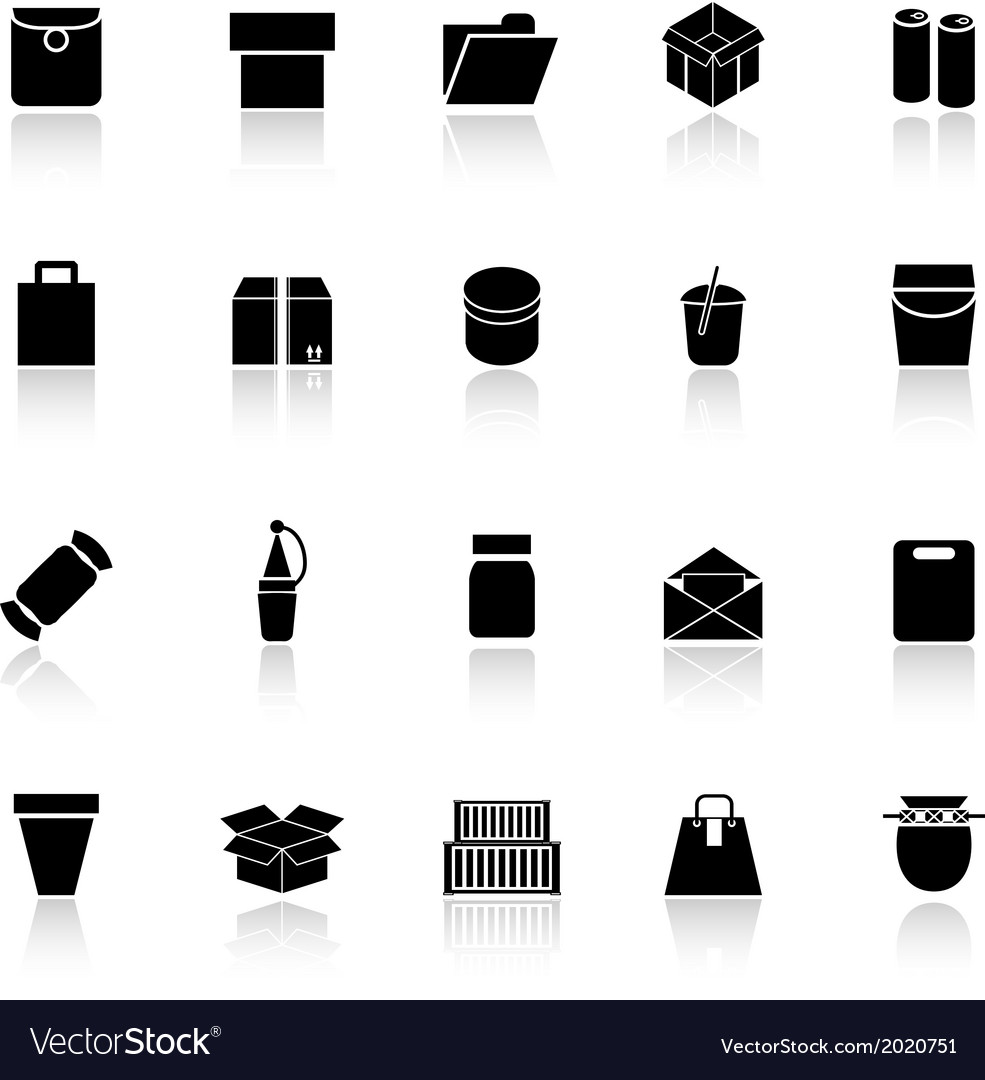 Package icons with reflect on white background vector | Price: 1 Credit (USD $1)