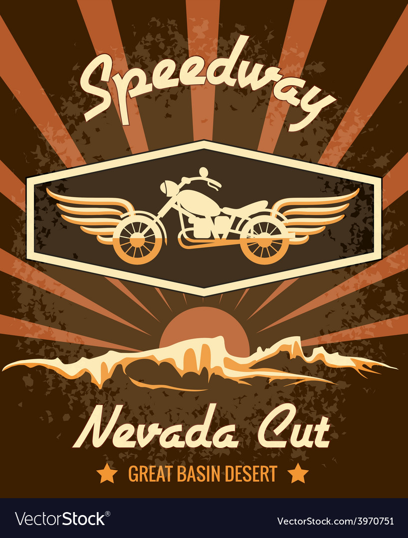 Retro speedway nevada cut graphic design vector | Price: 1 Credit (USD $1)