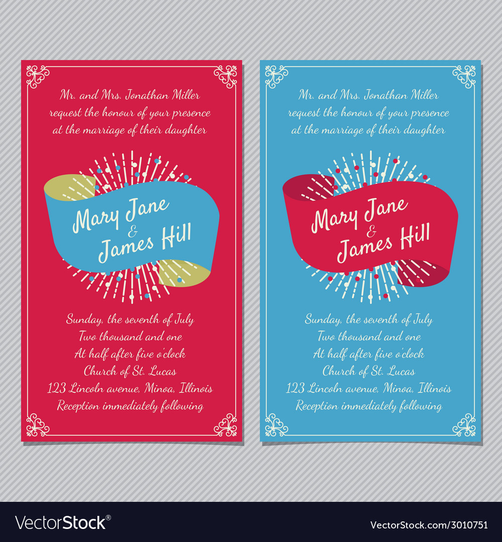 Wedding invitation with ribbon vector | Price: 1 Credit (USD $1)