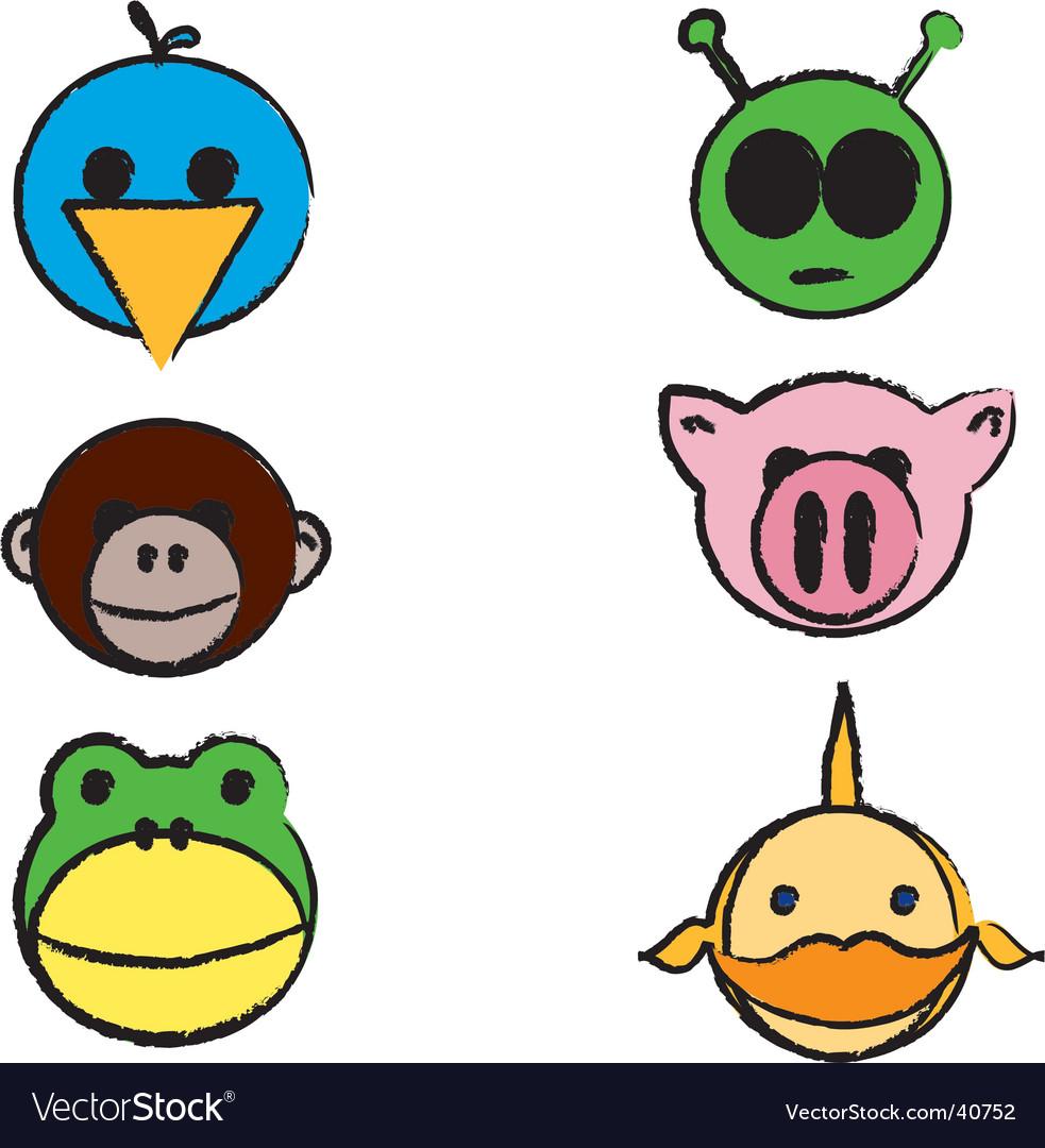 Animals cartoon sketch vector | Price: 1 Credit (USD $1)