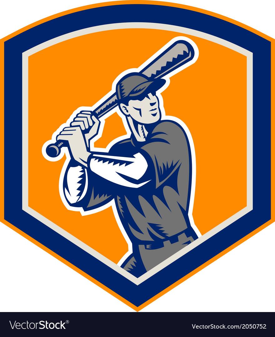 Baseball batter batting shield retro vector   Price: 1 Credit (USD $1)