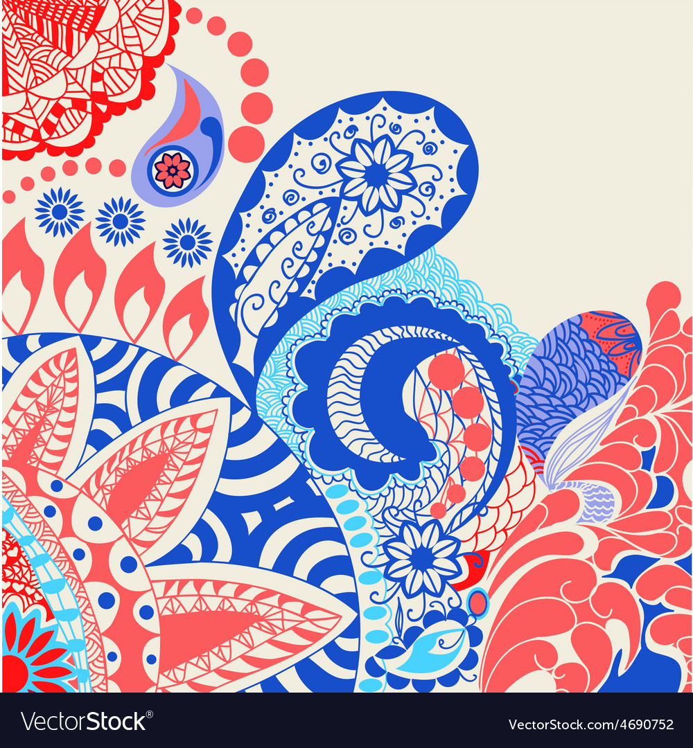 Beauty pattern flowers and paisley pattern vector | Price: 1 Credit (USD $1)
