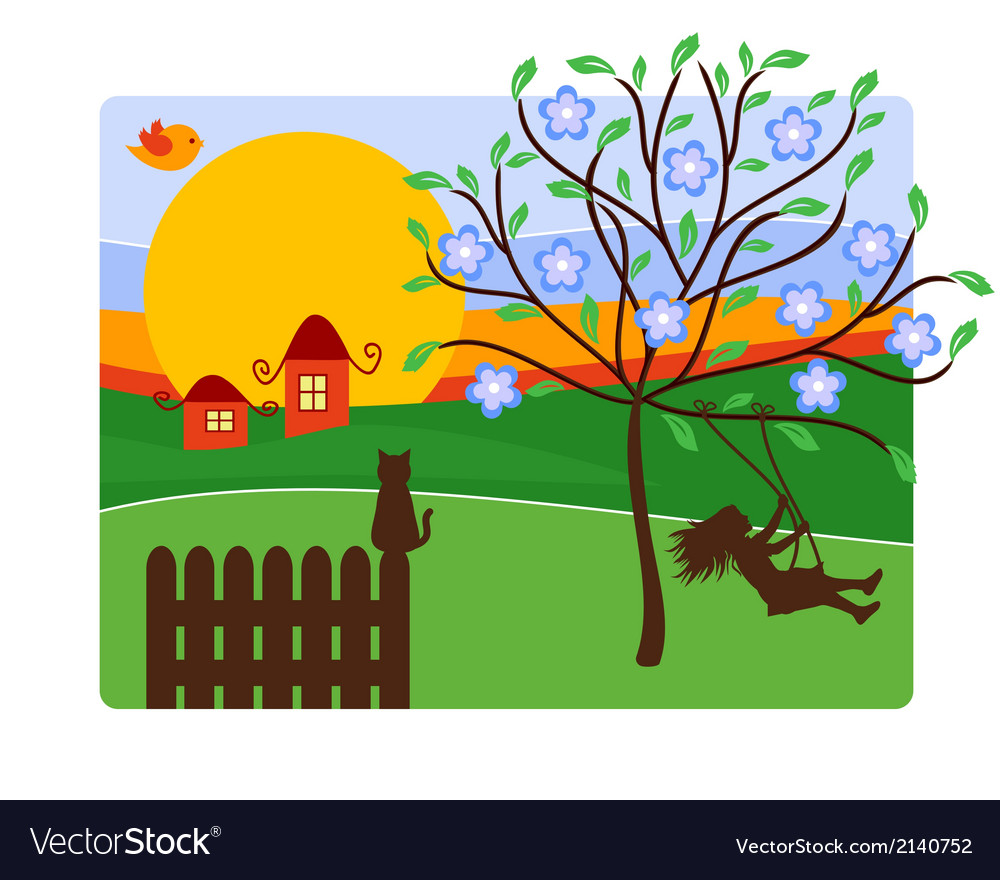 Childhood with landscape vector | Price: 1 Credit (USD $1)