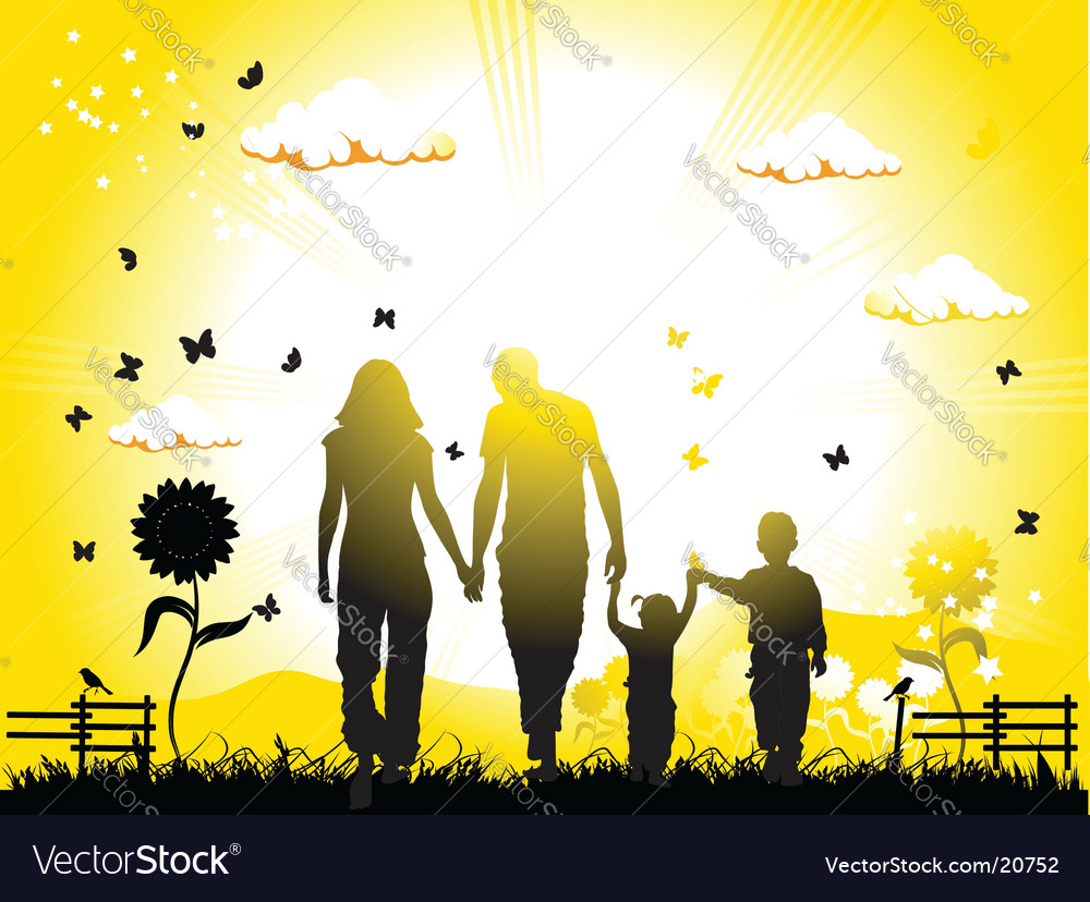 Family on nature vector | Price: 1 Credit (USD $1)