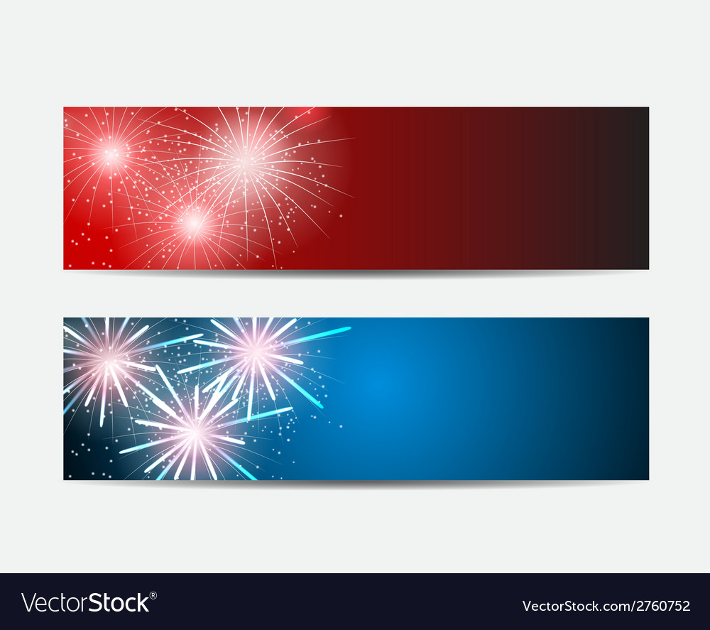 Glossy fireworks website header and banner set vector | Price: 1 Credit (USD $1)