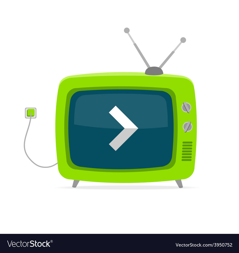 Green retro tv with arrow wire flat design vector | Price: 1 Credit (USD $1)
