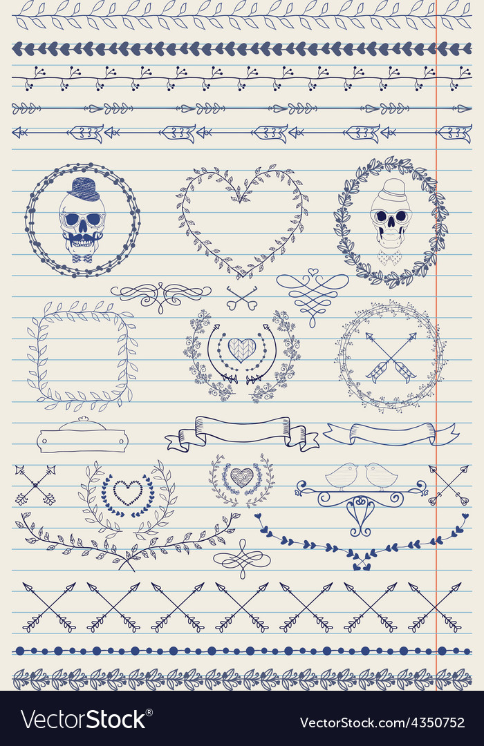 Pen drawing seamless borders and design elements vector | Price: 1 Credit (USD $1)