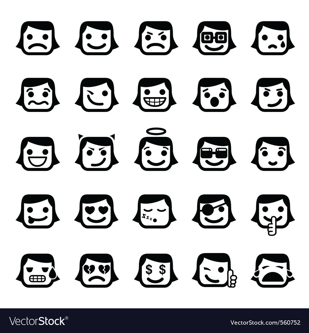 Set of 25 smiley faces vector | Price: 1 Credit (USD $1)