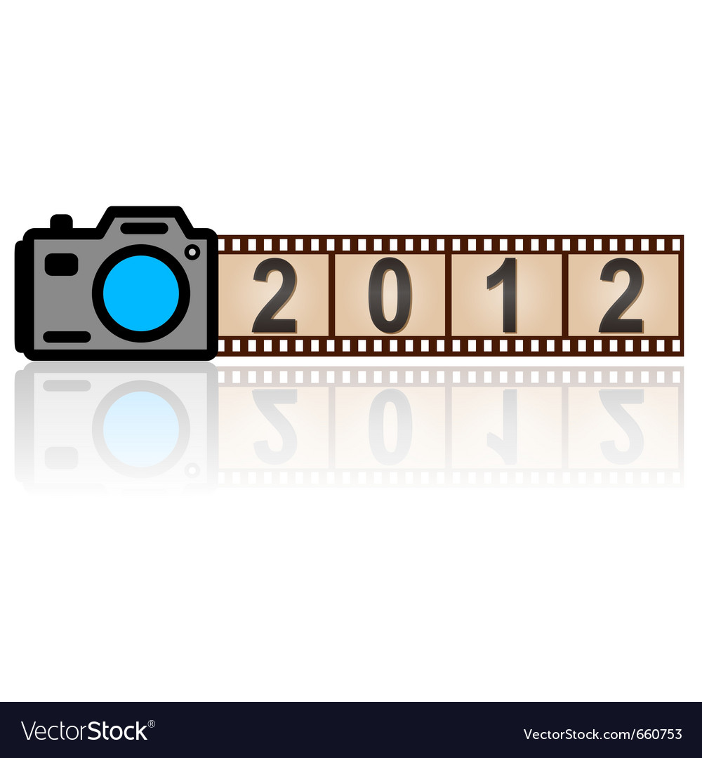 2012 new year camera with 35mm film vector | Price: 1 Credit (USD $1)