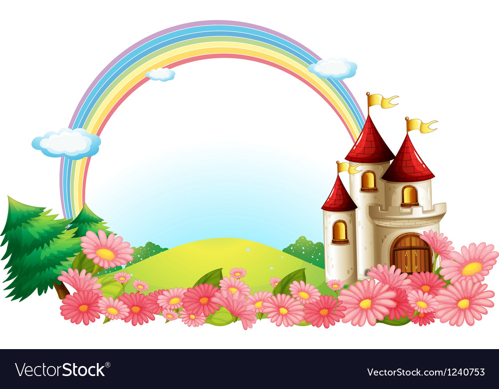A castle with blooming flowers vector | Price: 1 Credit (USD $1)