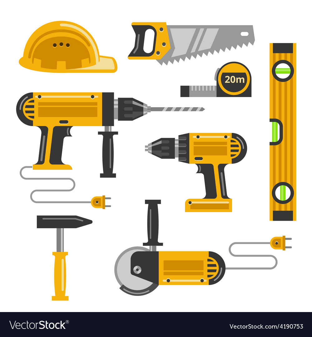 Construction tools flat icons vector | Price: 1 Credit (USD $1)