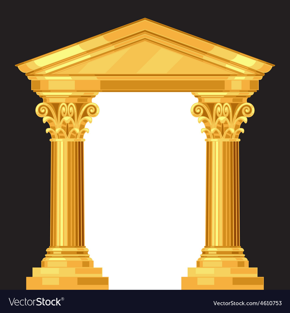 Corinthian realistic antique greek temple with vector | Price: 1 Credit (USD $1)