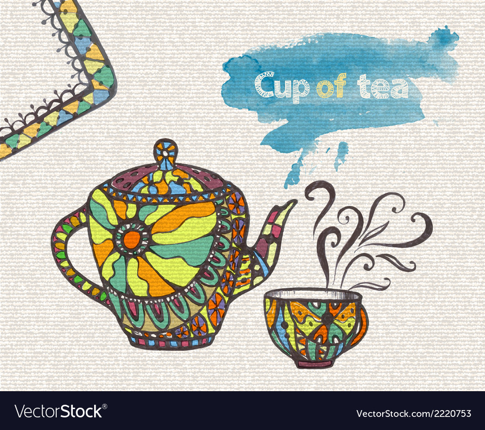 Decorative sketch of cup of coffee vector | Price: 1 Credit (USD $1)