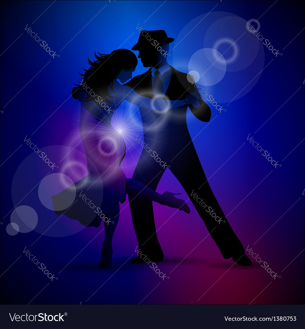 Design with couple dancing tango on dark backgroun vector | Price: 1 Credit (USD $1)