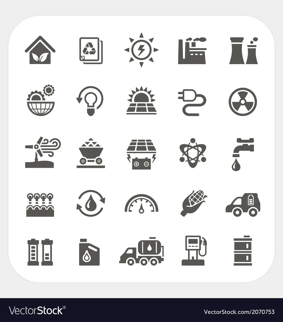 Energy and power icons set vector | Price: 1 Credit (USD $1)