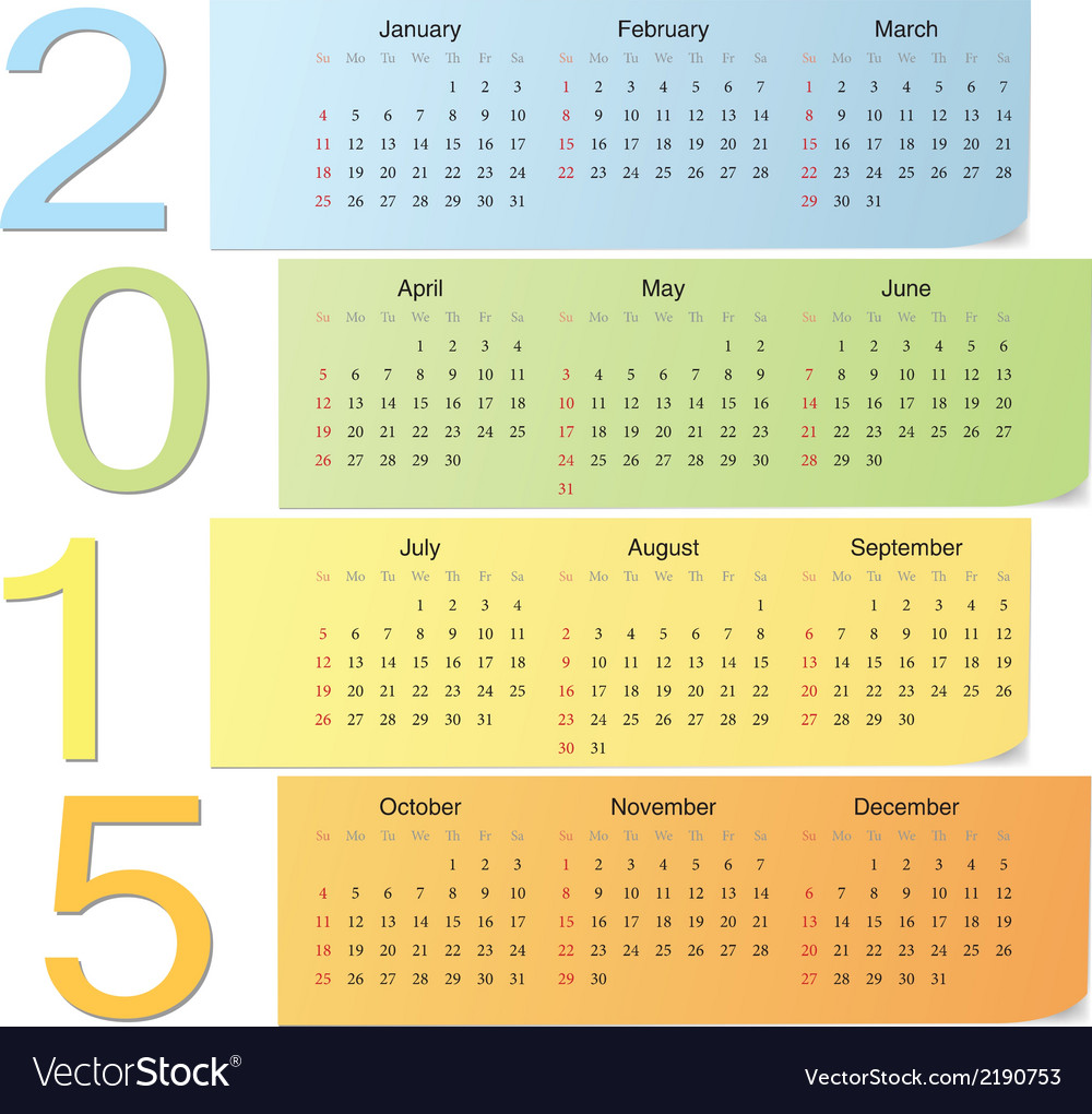 European color calendar 2015 vector | Price: 1 Credit (USD $1)