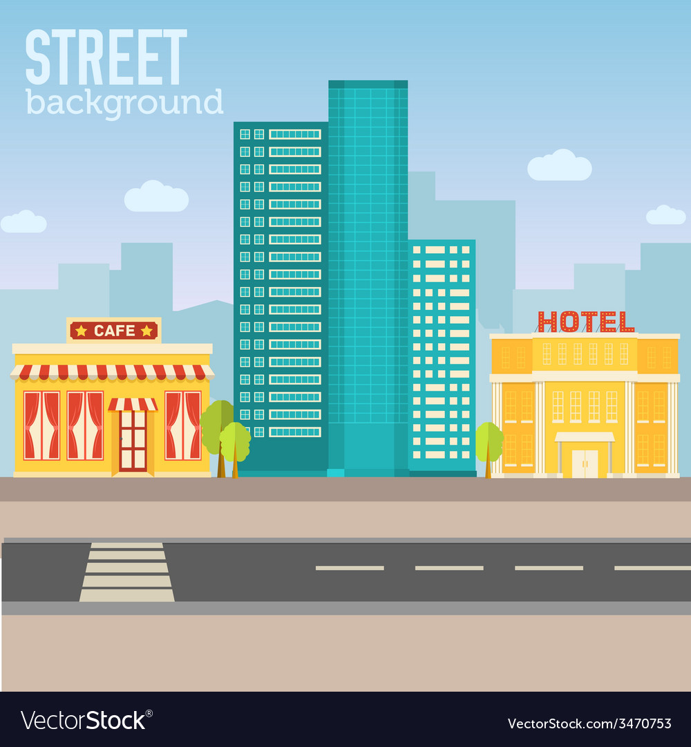 Hotel building in city space with road on flat vector | Price: 1 Credit (USD $1)