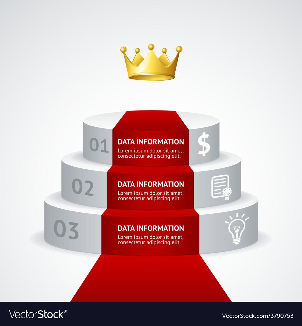 Infografic podium with red carpet vector | Price: 1 Credit (USD $1)