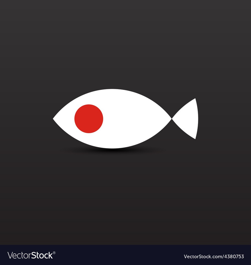Salmon fish in colors of japanese flag vector | Price: 1 Credit (USD $1)
