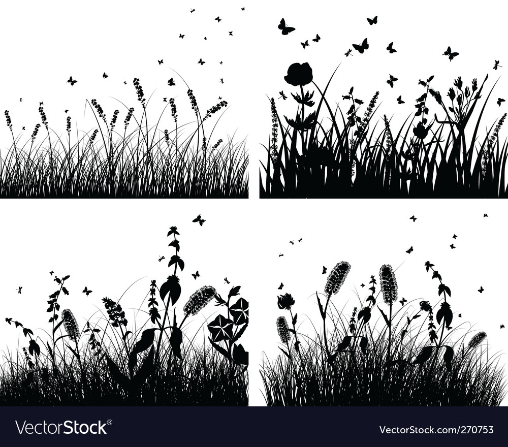 Set of grass silhouettes vector | Price: 1 Credit (USD $1)
