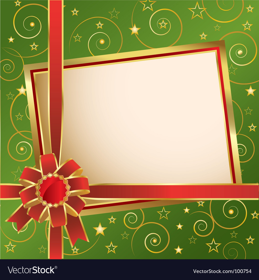 Background with red bow green vector | Price: 1 Credit (USD $1)