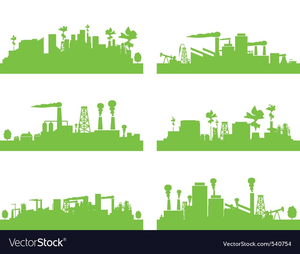 Eco factories vector | Price: 1 Credit (USD $1)