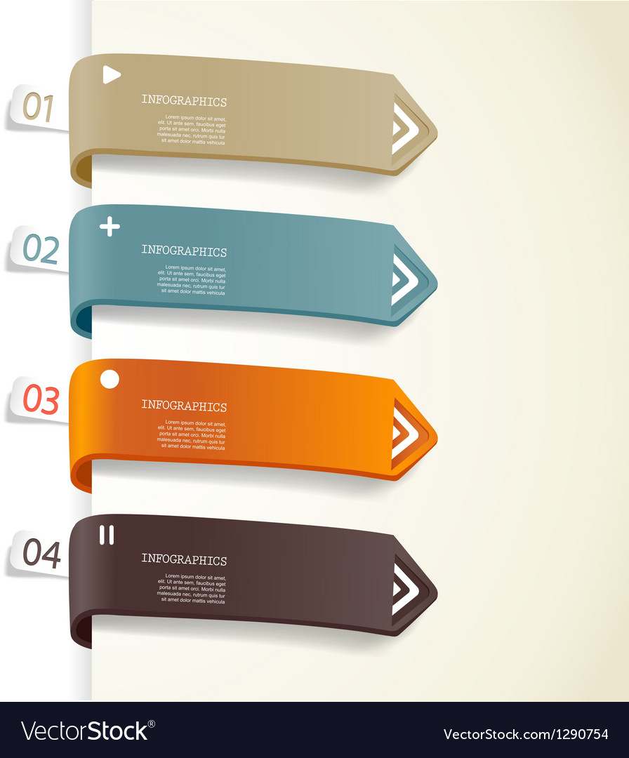 Four colored paper stripes vector   Price: 1 Credit (USD $1)
