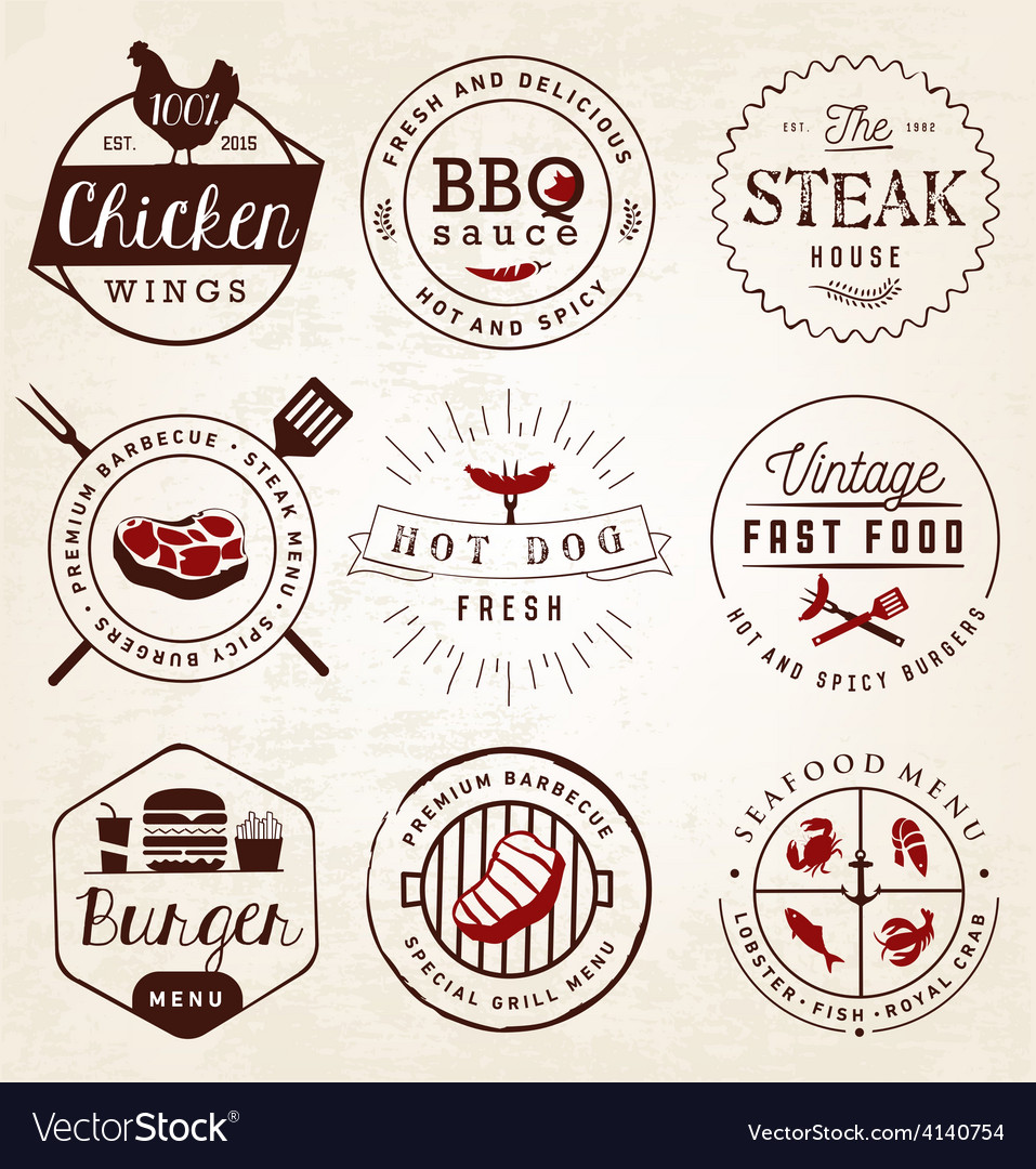 Grill barbecue burger hot dog seafood badges vector | Price: 1 Credit (USD $1)