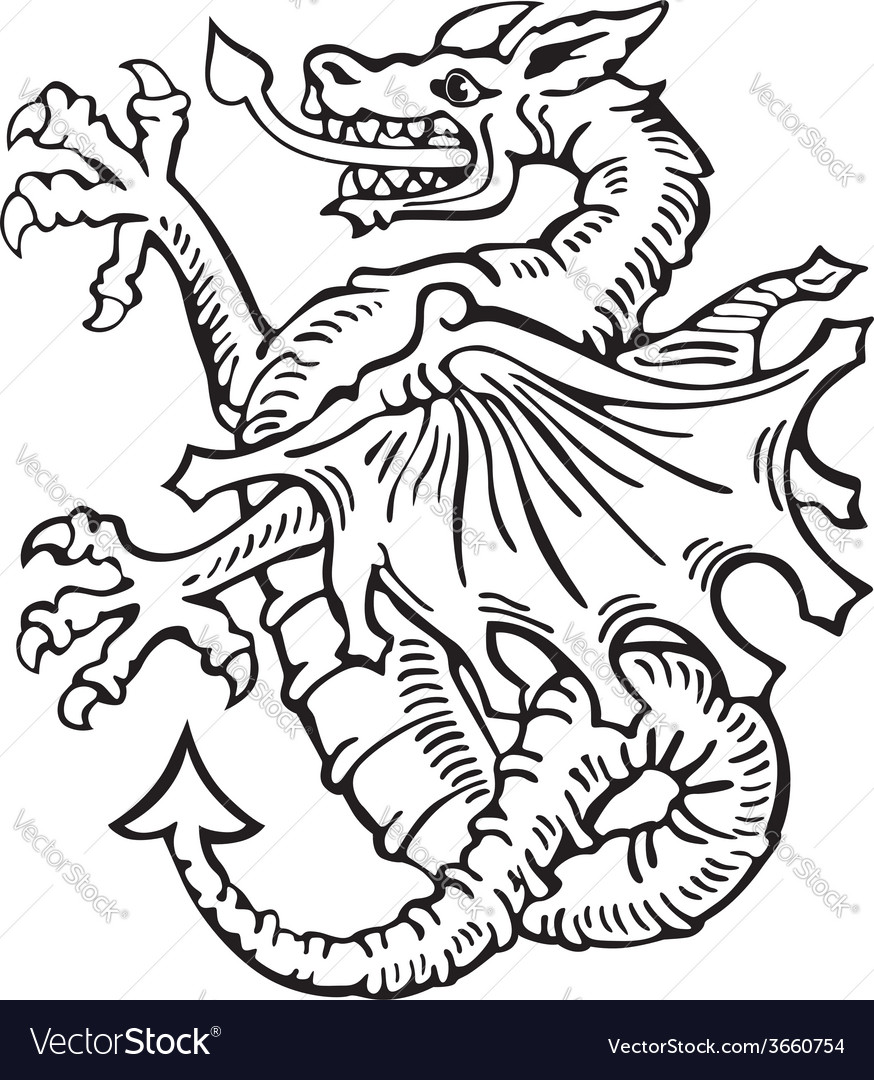 Heraldic dragon no6 vector | Price: 1 Credit (USD $1)