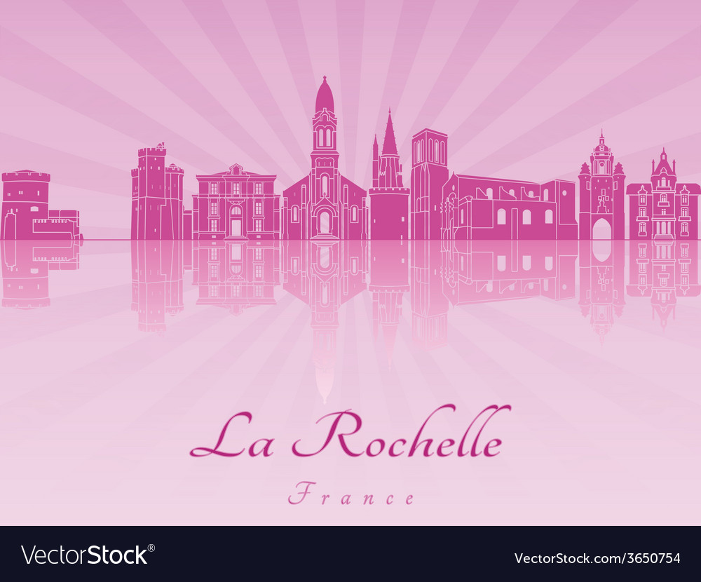 La rochelle skyline in purple radiant orchid vector | Price: 1 Credit (USD $1)