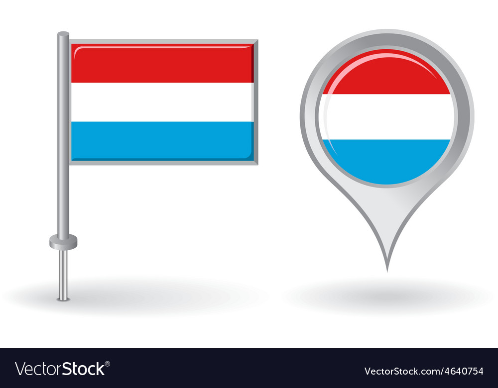 Luxembourg pin icon and map pointer flag vector | Price: 1 Credit (USD $1)