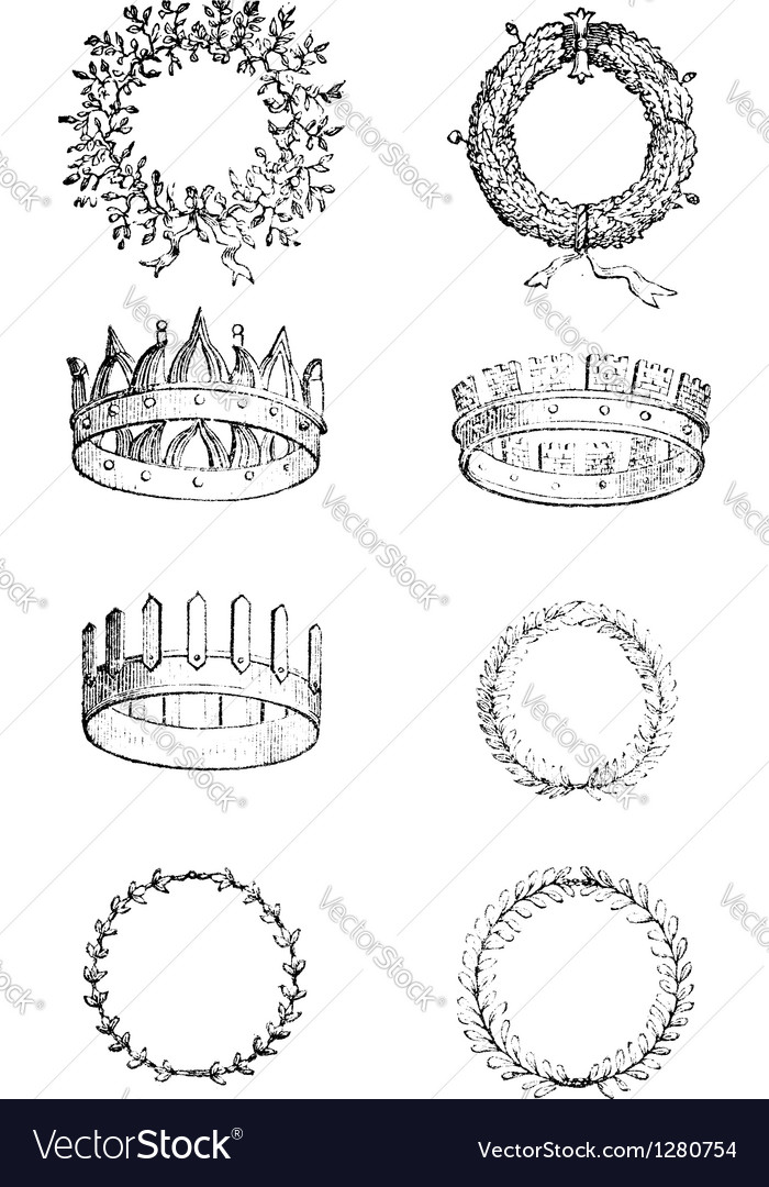 Roman crowns vintage engraving vector | Price: 1 Credit (USD $1)