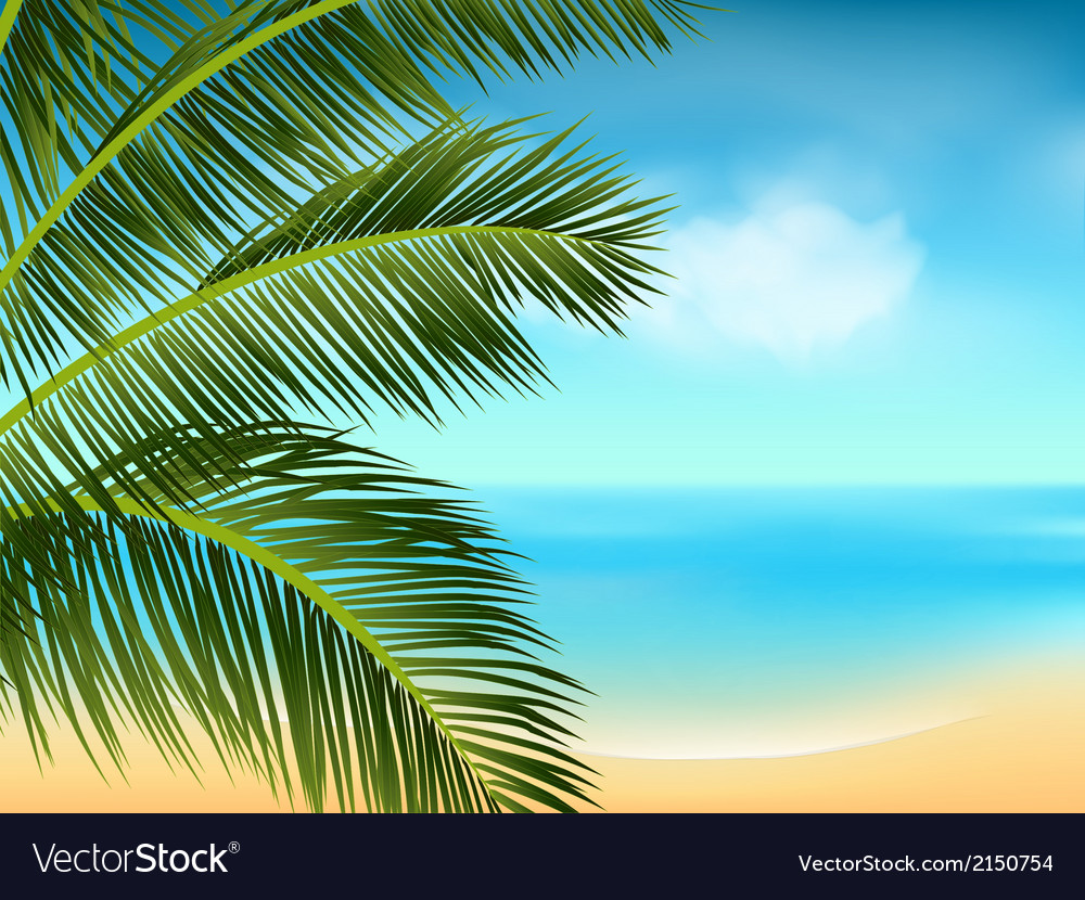 Summer sea and palm tree background landscape2 vector | Price: 1 Credit (USD $1)