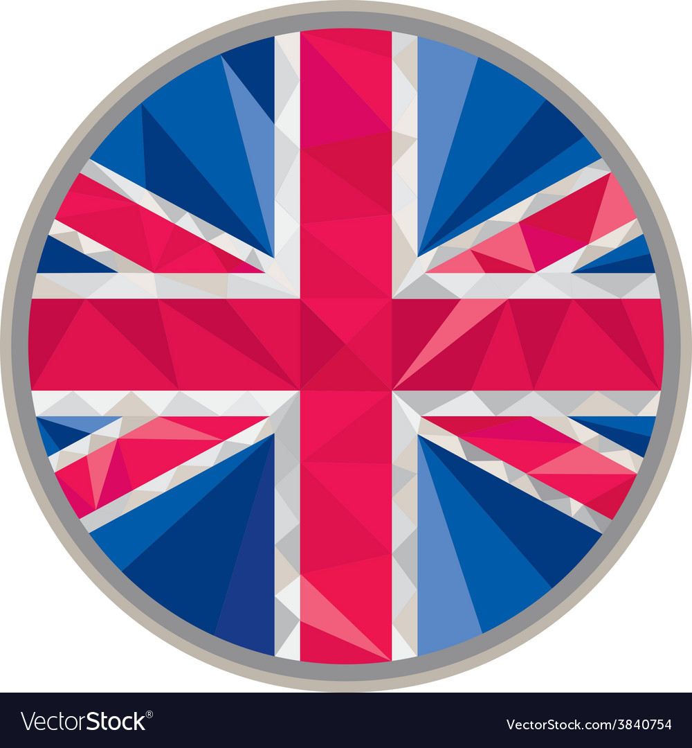Union jack uk gb flag circle low polygon vector | Price: 1 Credit (USD $1)