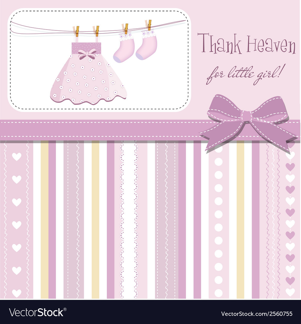 Baby girl shower announcement vector | Price: 1 Credit (USD $1)