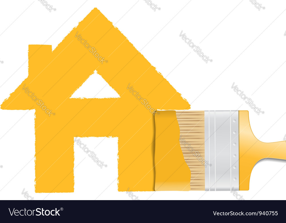 Brush painting house vector | Price: 1 Credit (USD $1)