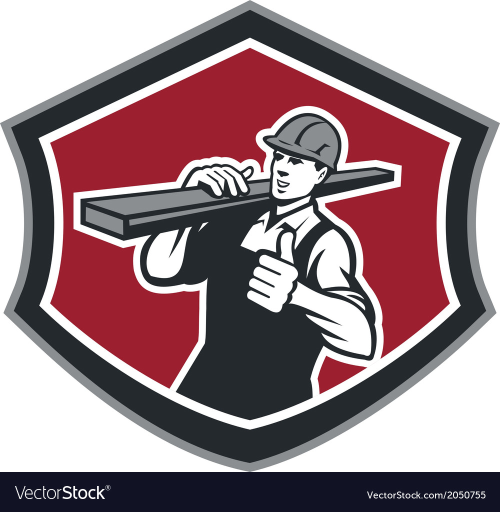 Builder carpenter carry timber thumbs up retro vector | Price: 1 Credit (USD $1)