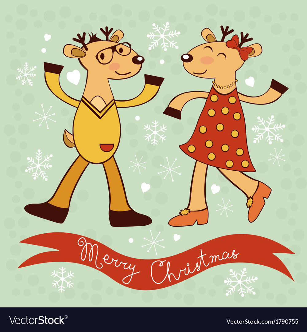 Christmas card with dancing deers vector | Price: 1 Credit (USD $1)
