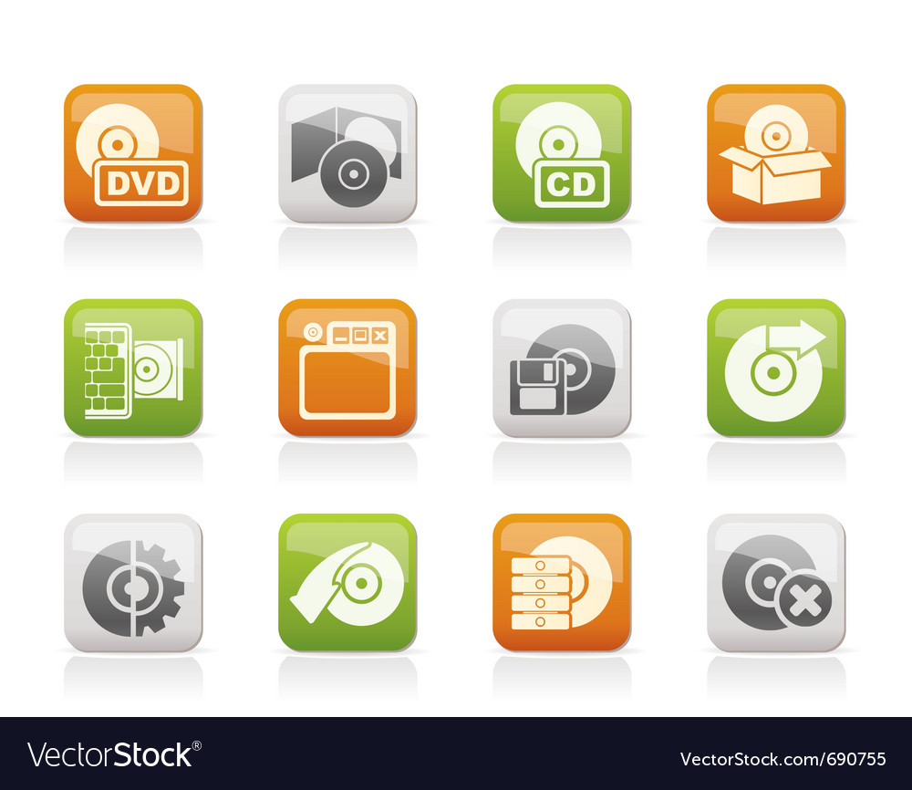 Computer media and disk icons vector | Price: 1 Credit (USD $1)