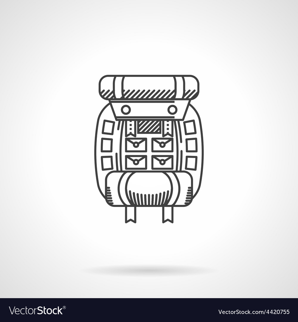 Hike rucksack flat line icon vector | Price: 1 Credit (USD $1)