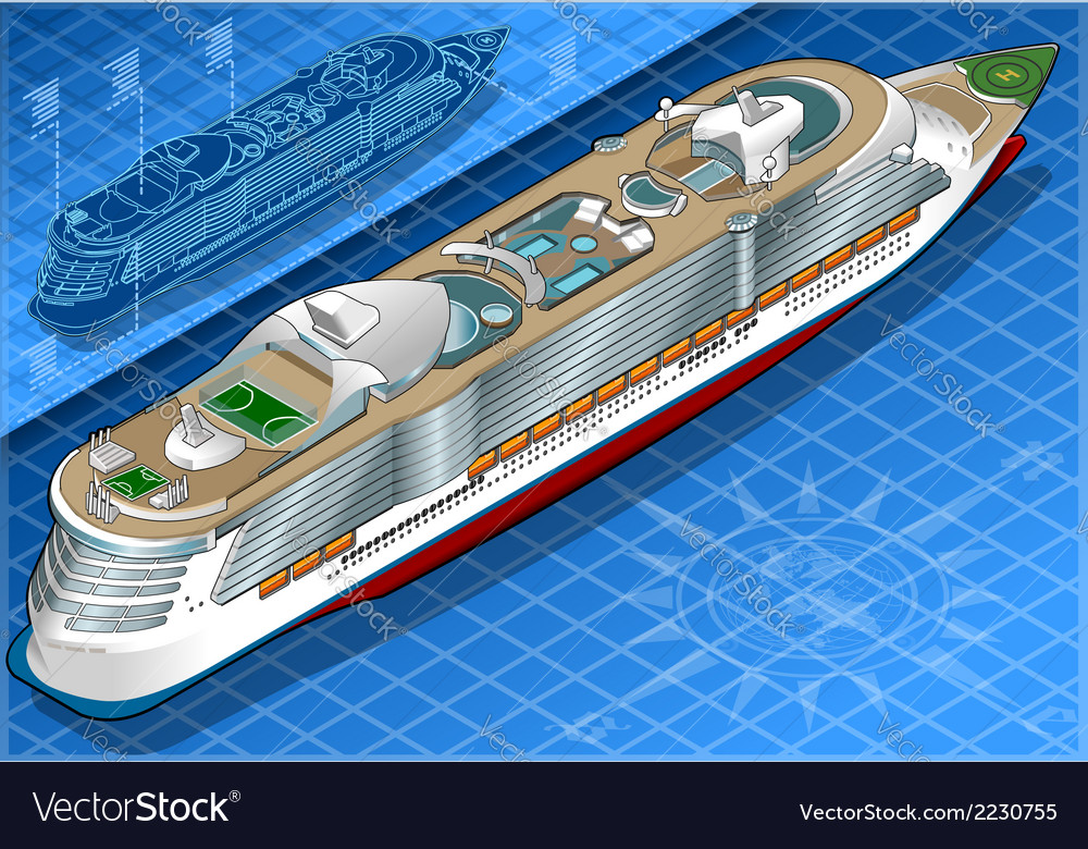 Isometric cruise ship in rear view vector | Price: 1 Credit (USD $1)