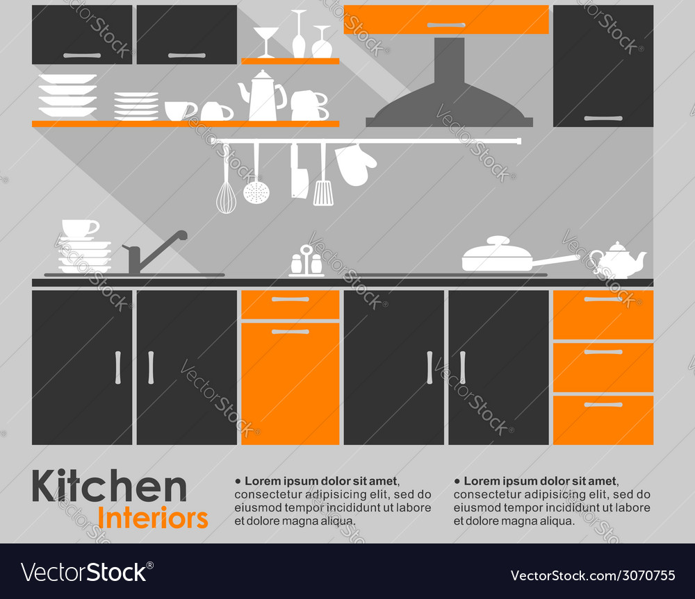 Kitchen interior flat design vector | Price: 1 Credit (USD $1)