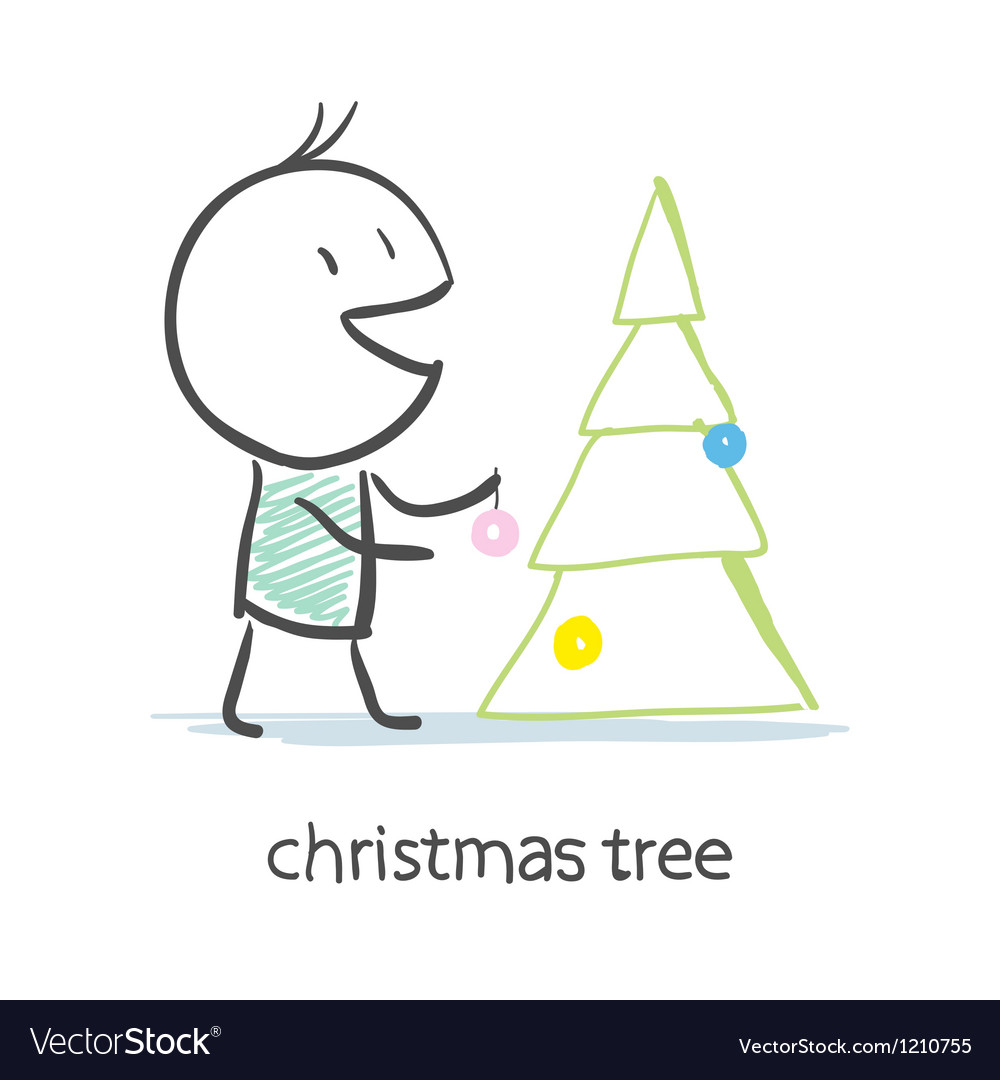 Man dresses up christmas tree vector | Price: 1 Credit (USD $1)
