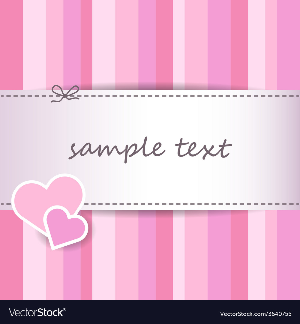 Striped pink valentine day greeting card vector | Price: 1 Credit (USD $1)