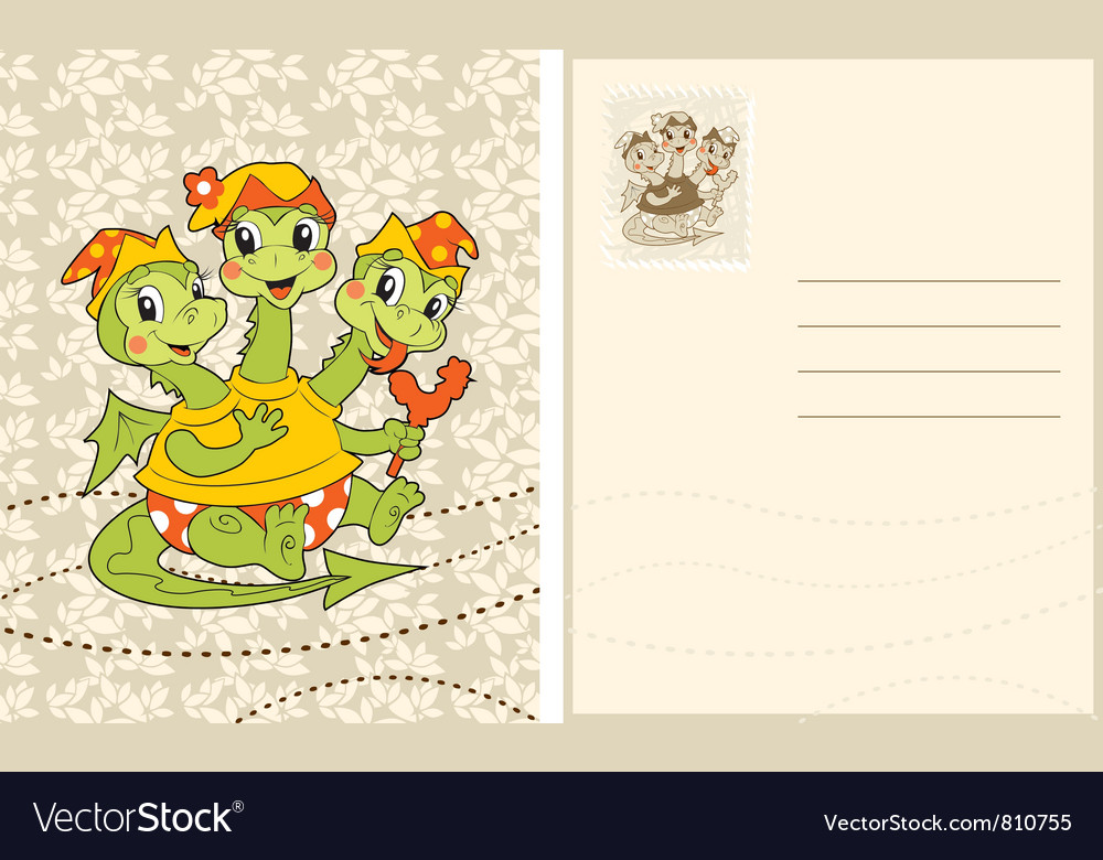 Vintage card with funny baby-dragon vector | Price: 1 Credit (USD $1)