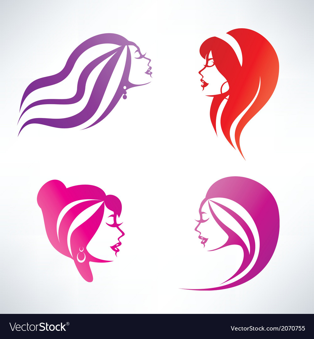 Women hairstyle isolated symbols collection vector | Price: 1 Credit (USD $1)