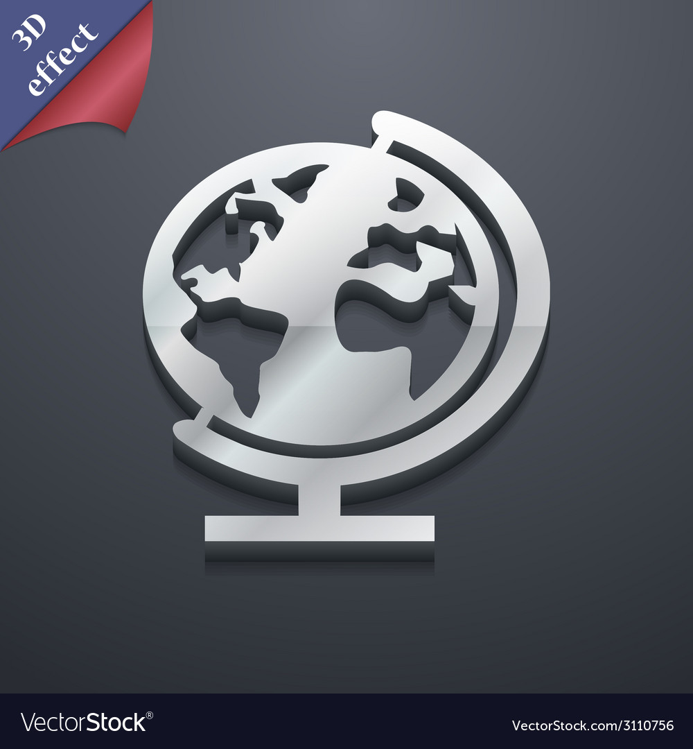 Globe icon symbol 3d style trendy modern design vector | Price: 1 Credit (USD $1)