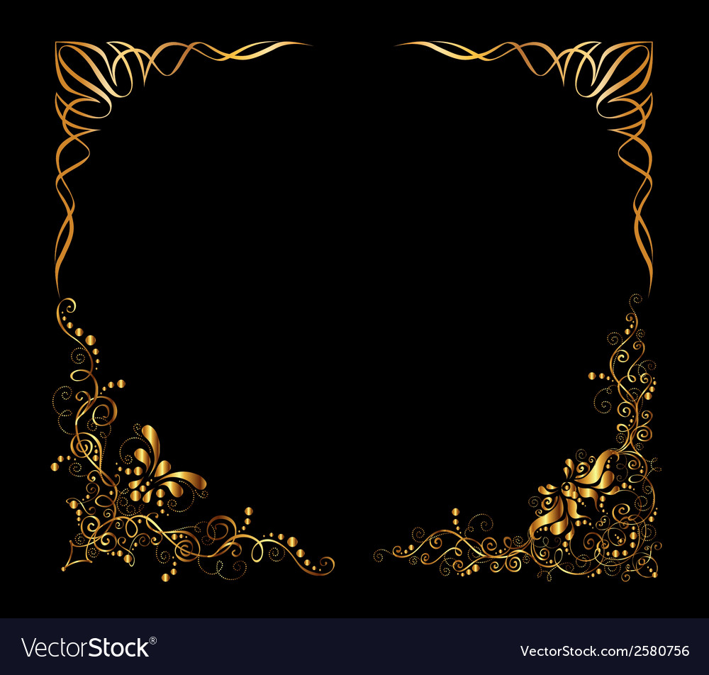 Old antique gold frame style pattern isolatedcorn vector | Price: 1 Credit (USD $1)